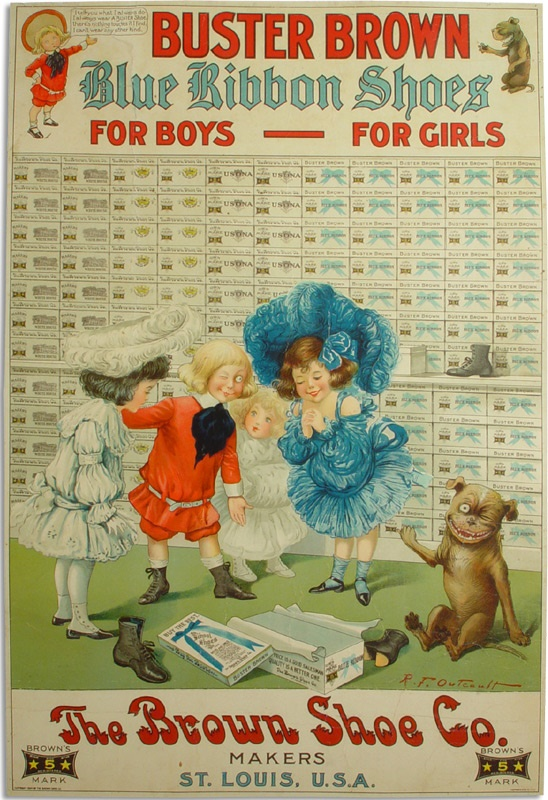 Buster Brown 1904 Blue Ribbon Shoes Poster by R.F. Outcault