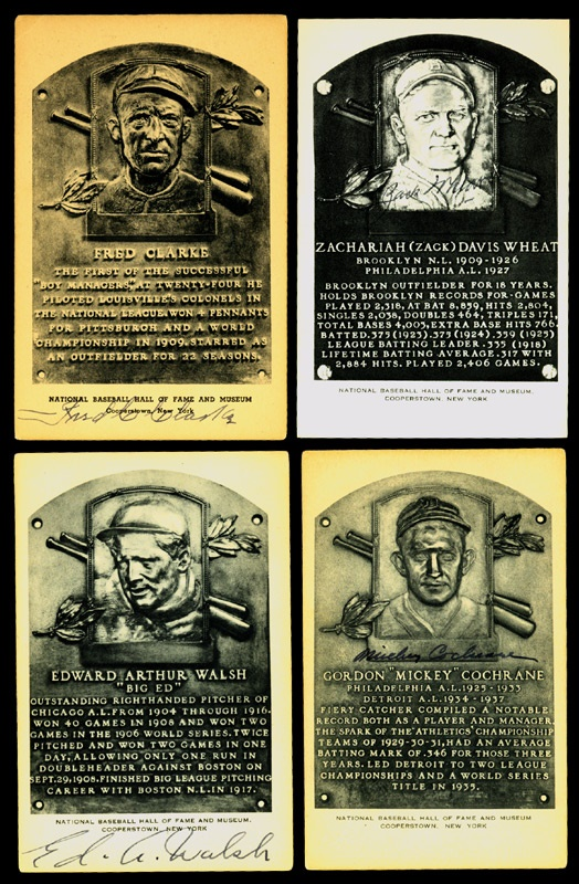 Autographed Black & White Hall of Fame Plaques (4)