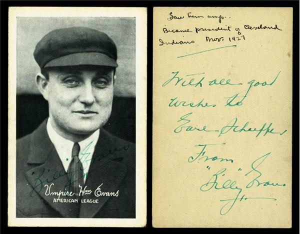 1922 Billy Evans Exhibit Card Signed on Front & Back