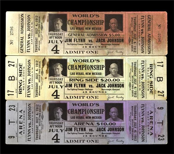 Three Jack Johnson vs. Jim Flynn Full Tickets (3)