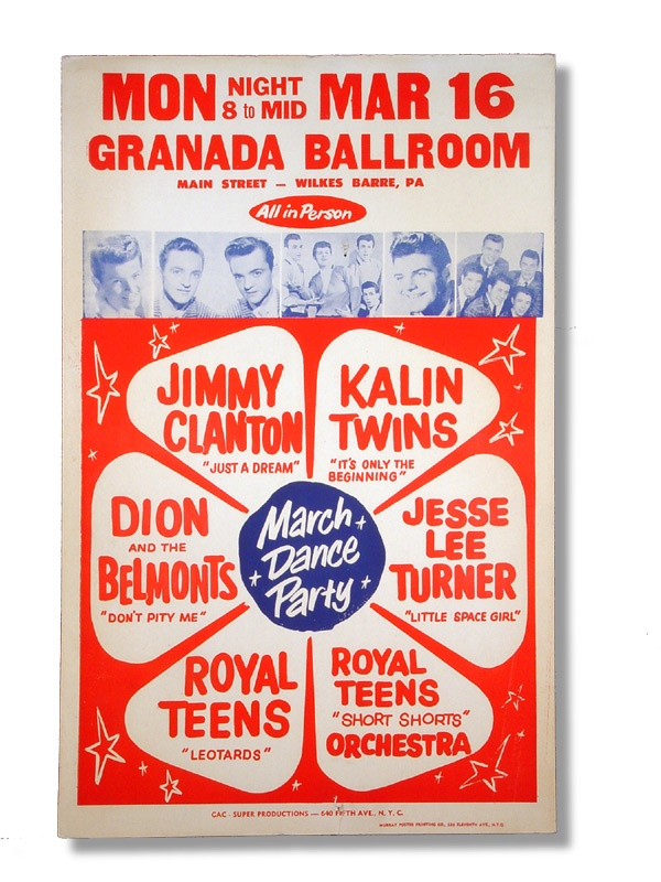 1959 Dion & The Belmonts Granada Ballroom Poster
