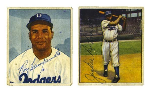 Jackie Robinson And Roy Campanella Signed 1950 Bowman Baseball Cards 2