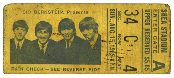 Beatles 1965 Shea Stub