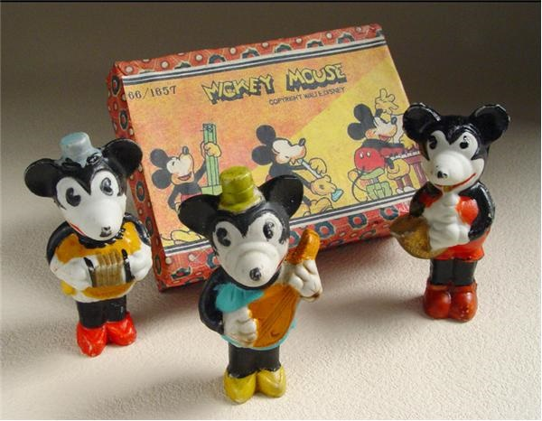1930s Mickey Mouse Bisques (3) in Original Box