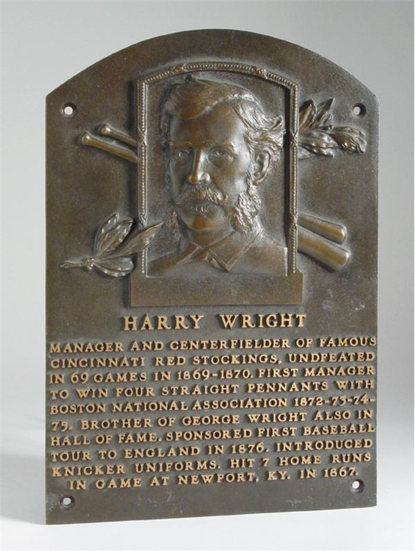 Harry Wright's Hall of Fame Plaque