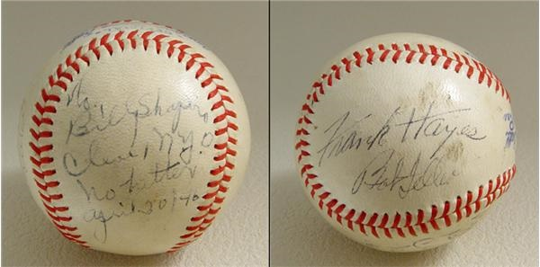 1946 Bob Feller / Frank Hayes No-Hit Signed Game Used Baseball