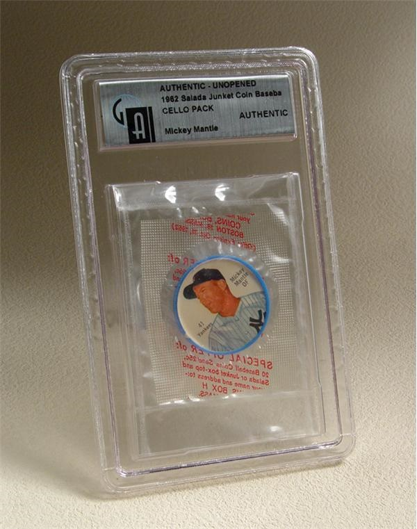1962 Salada Junket Coin Baseball Unopened Cello Pack with Mickey Mantle
