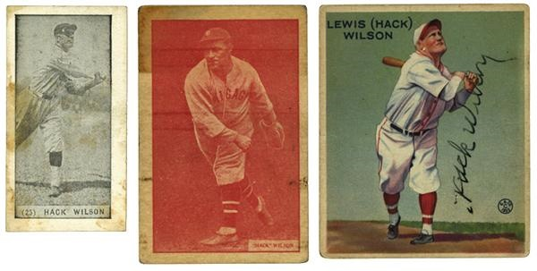 Hack Wilson Signed 1933 Goudey Card with Two Other Wilson Cards