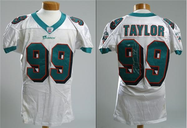 buy popular 85734 03ea0 2002 Jason Taylor Game Used Miami Dolphins Jersey