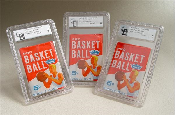 (3) 1961/62 Fleer Basketball Wax Packs GAI 8 NM-MT