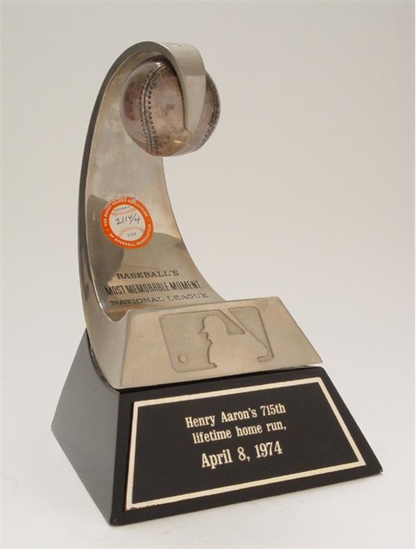 Hank Aaron's 715th Home Run Trophy & Greatest Moments of the 1970's Plaque