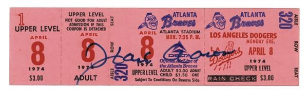 Hank Aaron 715 Home Run Ticket Autographed