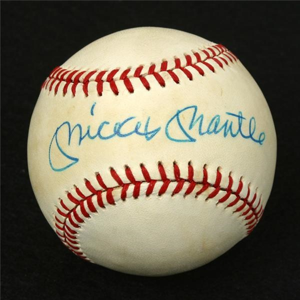 Mickey Mantle Single Signed Baseball