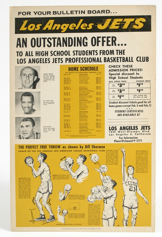 L.A. Jets ABA Cardboard Advertising Sign