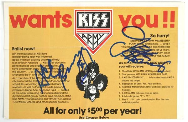 Gene Simmons & Ace Frehley Signed Kiss Army Merchandise Catalogue