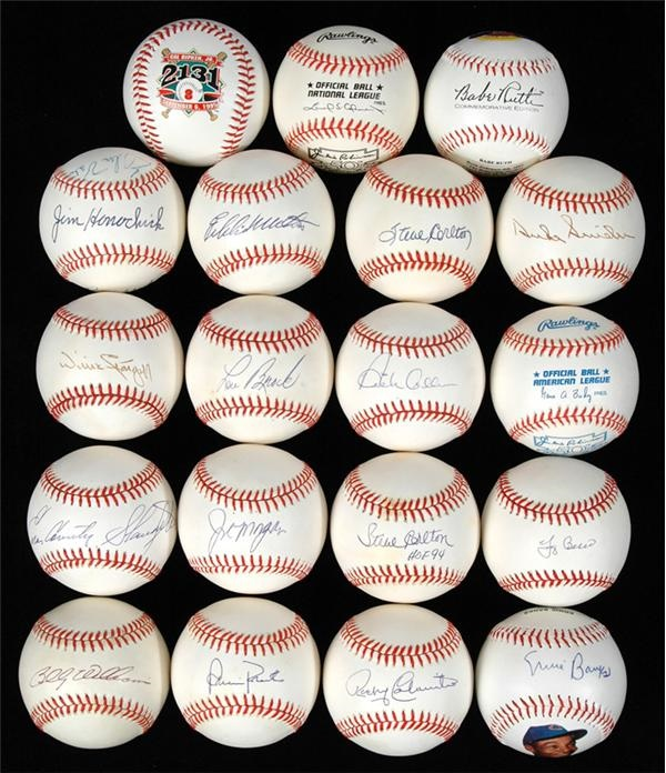 Hall of Famer Single Signed & Commemorative Baseball Collection (19)
