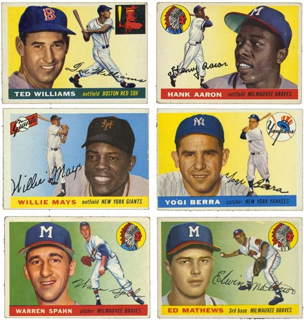 Lot of 6 1955 Topps Hall of Famers with Williams, Mays & Aaron