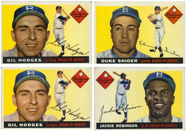 Lot of 4 1955 topps Brooklyn Dodgers With Robinson, Snider and Hodges (2x)