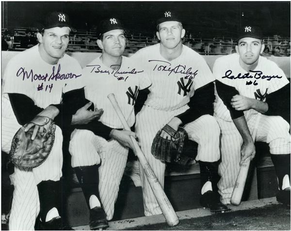 1961 NY Yankee Infield Signed Photo - Moose Skowron, Bobby Richardson, Tony Kubek, and Clete Boyer