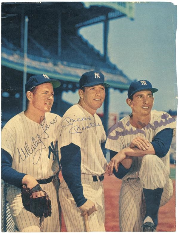 Mickey Mantle/Whitey Ford/Billy Martin Signed Ozzie Sweet Photo