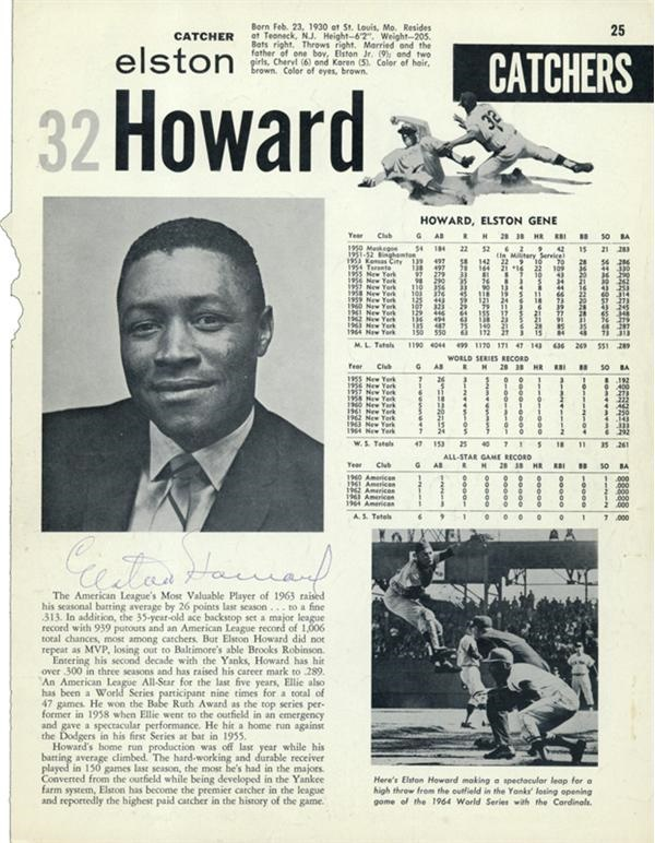Elston Howard Signed Yearbook Page(9