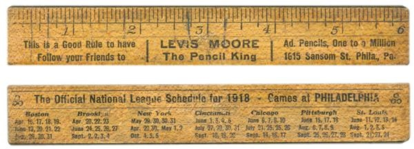 1918 Philadelphia Phillies Advertising Ruler with Schedule