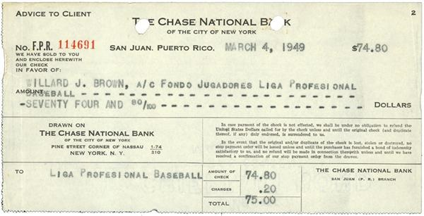 1949 Willard Brown Check Reciept
