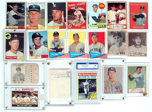 Assorted NY Yankees Card Collection & Joe DiMaggio Signed Softball