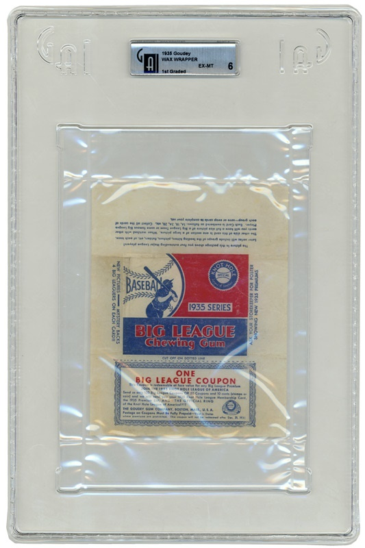 1935 Goudey Wax Pack Wrapper Graded GAI 6 EX-MT