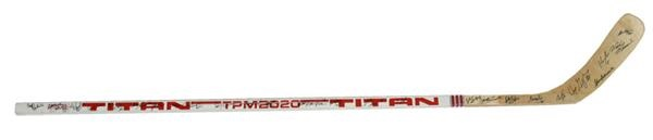 Mid-1980s Wayne Gretzky Game Stick Team Signed by the Oilers
