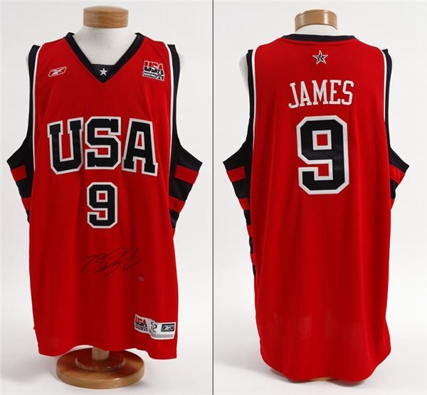low priced 0765d 7977d 2004 LeBron James Signed Olympic Team Jerseys (10)