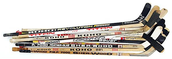 Awesome Collection of Game Used Sticks with Eight Hall of Famers inc. Wayne Gretzky (11)