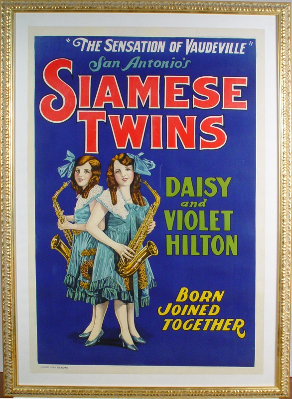 1930s The Hilton Sisters Siamese Twins Original Litho Poster