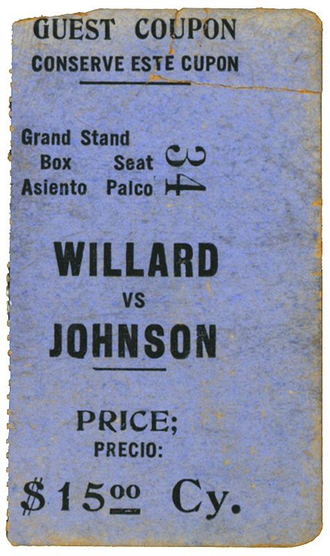 Jack Johnson vs. Jess Willard Boxing Ticket from Cuba