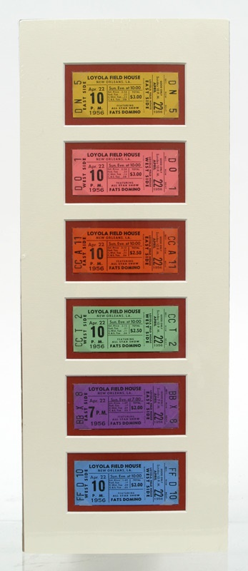 1956 Fats Domino Set of Six Unused Concert Tickets