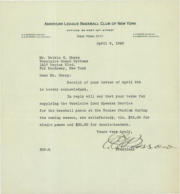 Ed Barrow 1940 Acknowledgement Letter