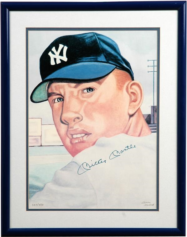 Mickey Mantle Signed Dvorak Print (14