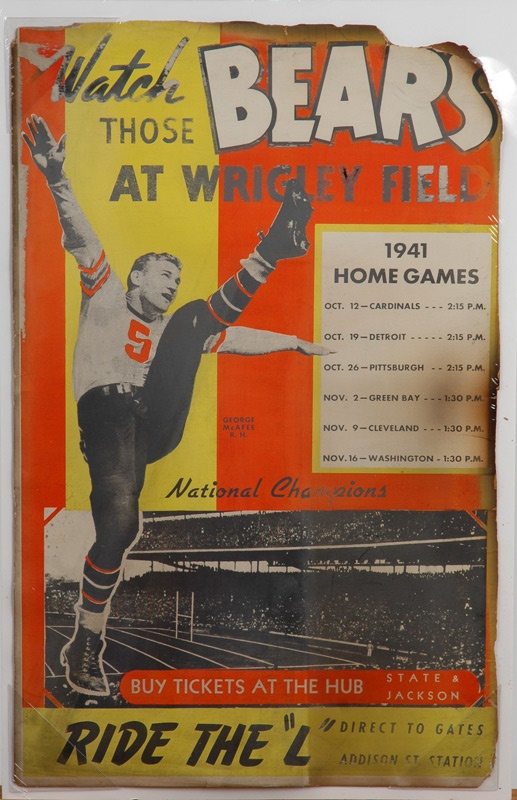 1941 Chicago Bears Advertising Poster with George McAfee