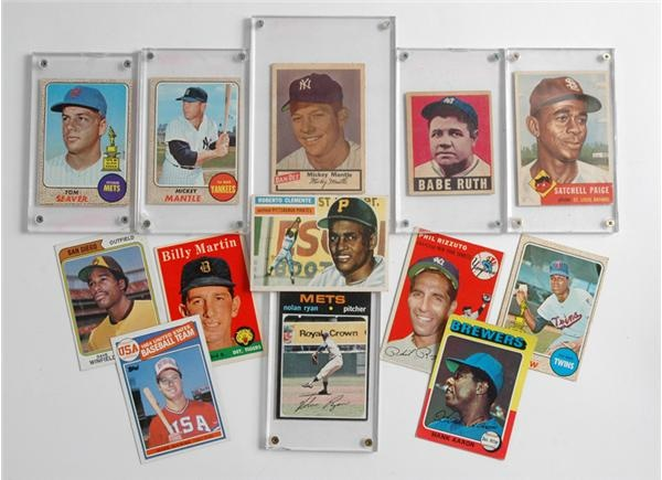 Vintage Baseball Card Collection (13) with '48 Leaf Ruth and Dan-Dee Potato Chips Mantle