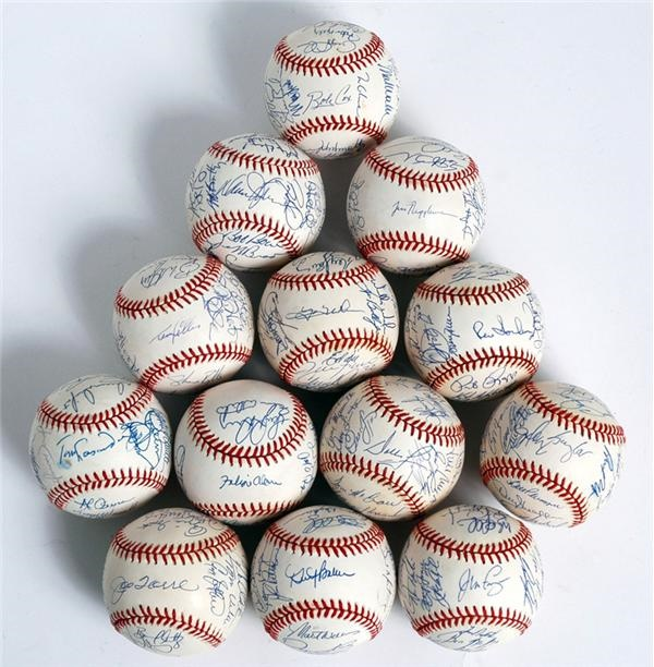Near Set of 1994 National League Team Signed Baseballs (13)
