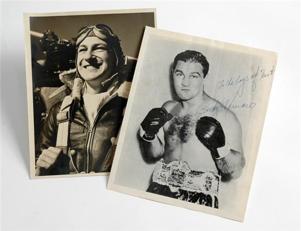 Rocky Marciano Autographed Vintage Photo Lot (2)