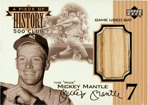 Mickey Mantle Upper Deck Game Used Bat Card