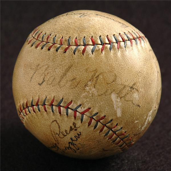 1930 New York Yankees Autographed Baseball with Ruth & Gehrig