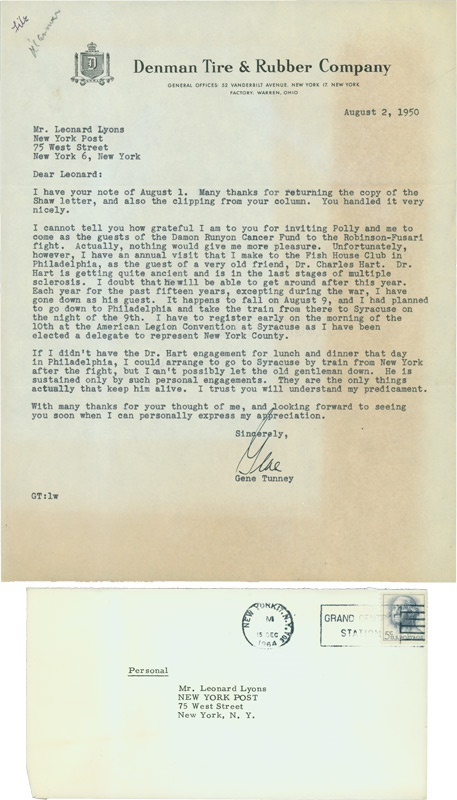 Gene Tunney Letter with Judaica Content