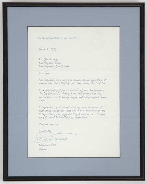 Lawrence Welk Signed Letter with Boxing Content