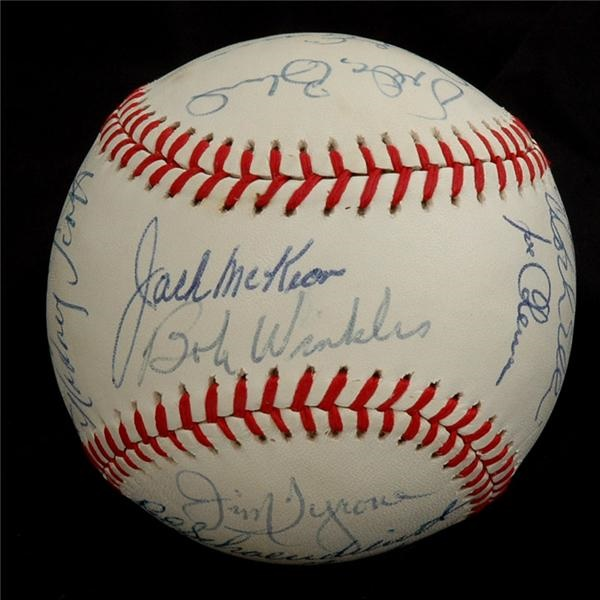 1977 Oakland Athletics Team Signed Baseball w/Shoendienst