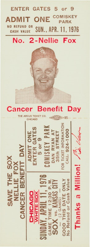 Nellie Fox Cancer Benefit Day Full Ticket - 1976