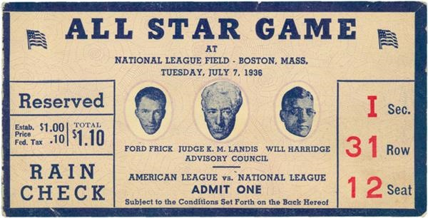 1936 All Star Game At Boston Ticket Stub