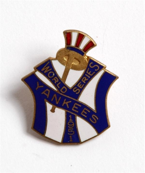 1951 N.Y. Yankees World Series Press Pin