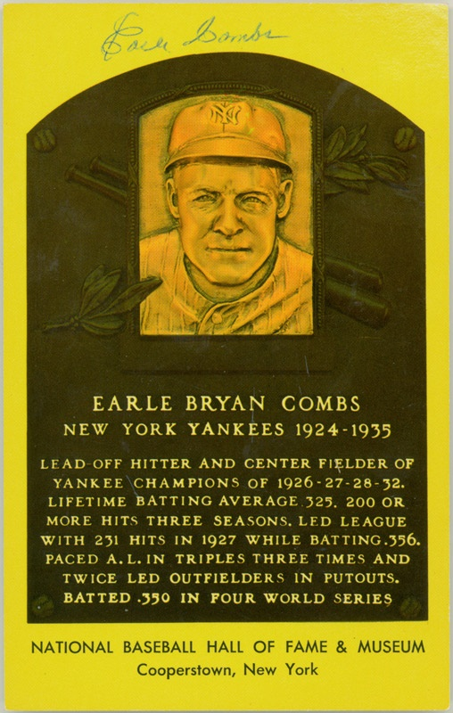 Earle Combs HOF Signed Postcard